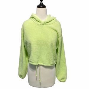 Wild fable crop hoodie fuzzy neon green large